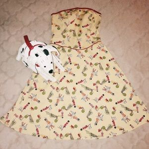 Vintage Pinup Novelty Print Dress Ladies and Dogs